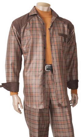 Inserch Mens Rust Plaid Walking Set with Suede Trim 115 - click to enlarge
