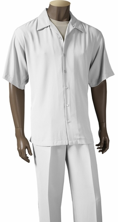 Inserch Mens Short Sleeve White Micro Fiber Walking Suit 9356 - click to enlarge