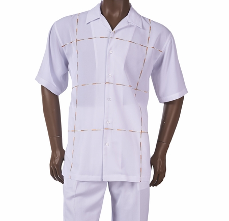 Inserch Mens White Pattern Short Sleeve Walking Suit 80256-02 - click to enlarge