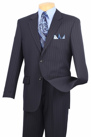 Italian Cut Suit Navy Pinstripe 2 Button 2 Piece 2RS-16 - click to enlarge