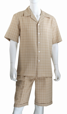 Jazz Mens Beige All Over Plaid Fashion Short Set SWP-1 - click to enlarge