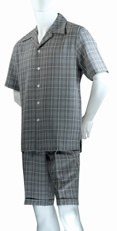 Jazz Mens Black All Over Plaid Fashion Short Set SWP-1 - click to enlarge
