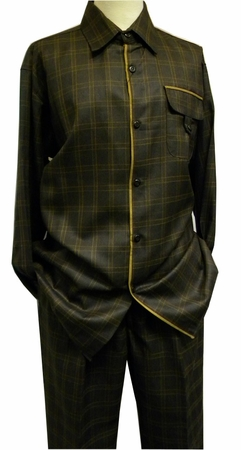 Pronti Mens Brown Plaid Sharkskin Walking Two Piece Set 6207 - click to enlarge