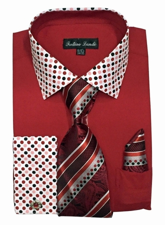Fortino Milano Mens Red French Cuff Dress Shirt Tie Set FL630 - click to enlarge