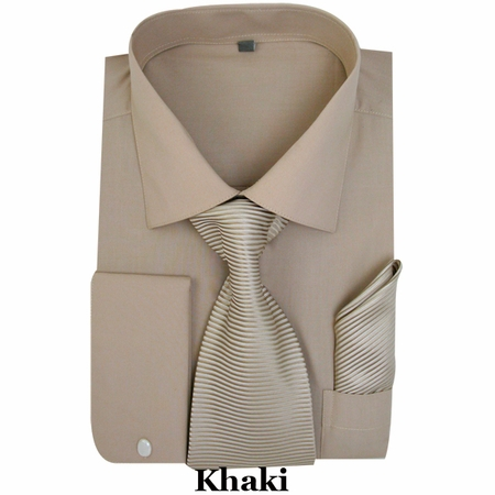 Milano Khaki French Cuff Shirt Stripe Tie Combo SG27 - click to enlarge