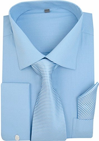 Milano Blue French Cuff Shirt Stripe Tie Combo SG27 - click to enlarge