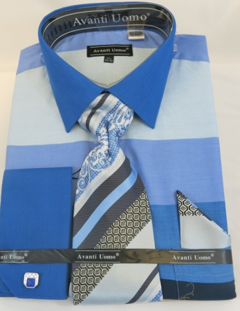 Avanti Uomo Mens Blue Rugby Stripe Dress Shirt Set DN67M - click to enlarge
