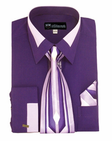 Milano Moda Purple Fashion French Cuff Shirt Tie Set SG34 - click to enlarge