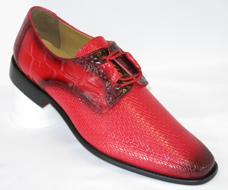 Liberty Mens Red Snake Texture Dress Shoes LS842 - click to enlarge
