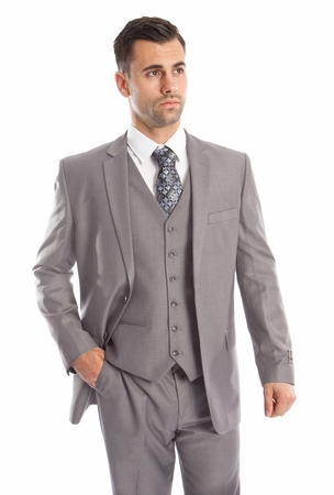 Light Gray 3 Piece Suit Mens Solid Color Regular Fit Tazio M302-05 - click to enlarge