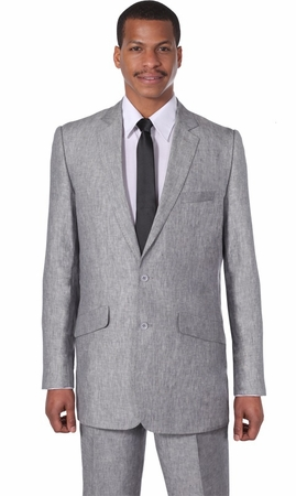 Linen Mens Suits by Milano Moda Gray Linen 2 Button Suit 612L - click to enlarge