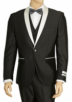 Prom Suit Slim Fit Mens Black White Shiny Tux Vittorio S6501