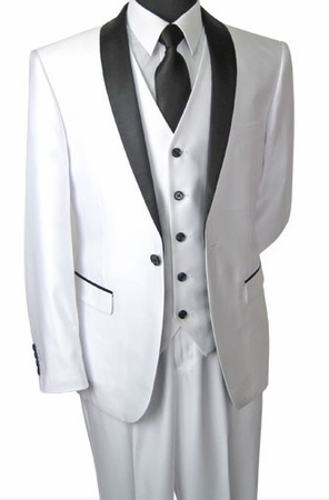 Prom Suit Slim Fit Mens Shiny White Tux Vittorio S6501 - click to enlarge