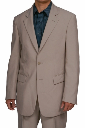 Mens Cheap Beige 2 Button Suit on Sale Discount 2PP - click to enlarge