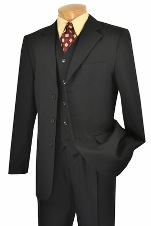 Lucci Black 3 Button Mens Dress Suits 3 Piece Suit V-3PP - click to enlarge