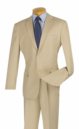 Lucci Mens Cheap Beige Slim Fit Suit S-2PP - click to enlarge