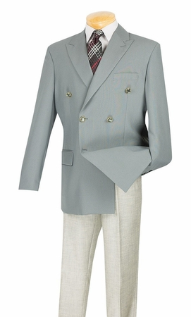 Lucci Mens Gray 6 Button Double Breasted Blazer Z-DPP - click to enlarge