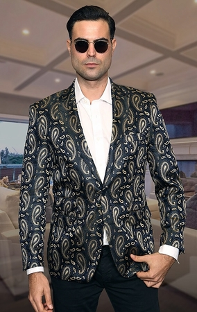 Manzini Blazers Mens Navy Paisley Evening Jacket MZS-221 IS - click to enlarge