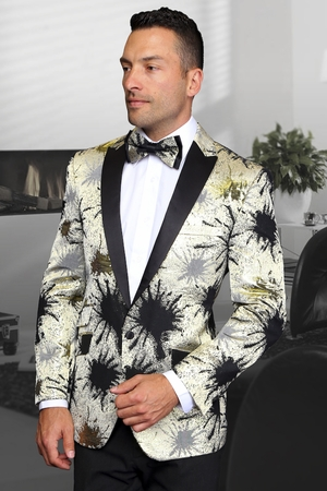 Manzini Blazers Mens Gold Splatter Stage Jacket MZS-218 IS - click to enlarge