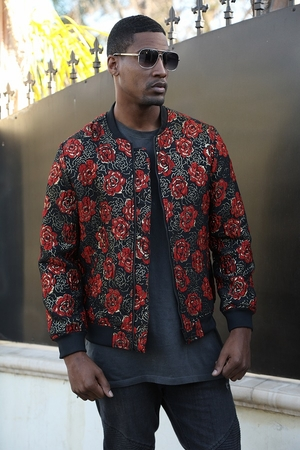 Manzini Bomber Jacket Mens Red Rose Pattern MZBJ-01 - click to enlarge