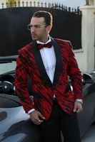 Manzini Designer Tuxedo Jacket Mens Red Sequin MZE-138 IS