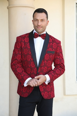 Manzini Fancy Tuxedo Suit Jacket Blazer Red Floral MZN-116 IS Bow - click to enlarge