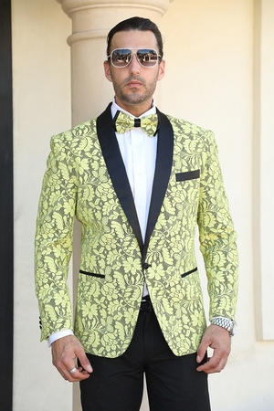 Manzini Fancy Tuxedo Suit Jacket Blazer Yellow Floral MZN-116 Bow - click to enlarge