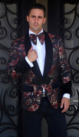 Manzini Insomnia Red Floral Unique Fashion Sport Coat MZS-266 IS - click to enlarge