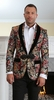 Manzini Mens Baroque Floral Gold Velvet Collar Fashion Blazer Jacket MZS-261 Bow