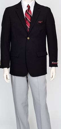Pacelli Mens Classic Black 2 Button Jacket Blair 70000 - click to enlarge