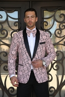 Manzini Fancy Tuxedo Suit Jacket Blazer Pink Floral MZN-116 Bow