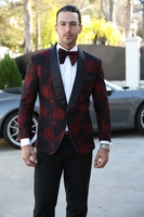 Manzini Fashion Dinner Jacket Mens Red Flower Round Collar MZN-114 IS