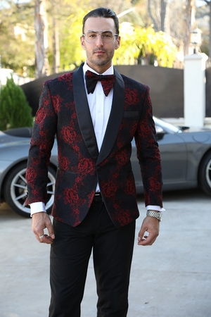 Manzini Fashion Dinner Jacket Mens Red Flower Round Collar MZN-114 IS - click to enlarge