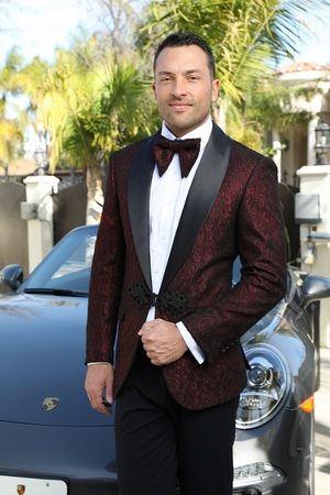 Insomnia Paisley Dinner Jacket Mens Red Woven Blazer MZE-113 - click to enlarge
