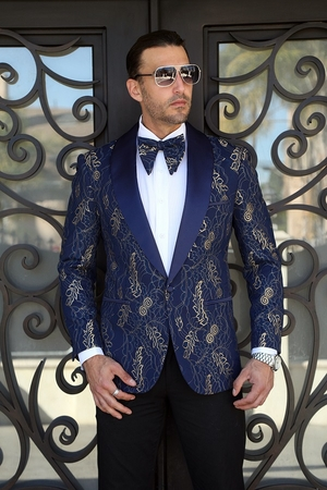 Insomnia Manzini Dinner Jacket Mens Blue Lace Blazer MZE-111 - click to enlarge