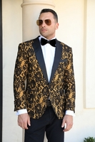 Manzini Mens Ornate Gold Tuxedo Suit Jacket Blazer MZN-115 IS
