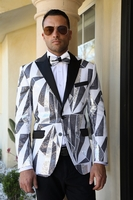 Manzini Mens Sequin Fashion Blazer White Black Dinner Jacket MZE-136 IS