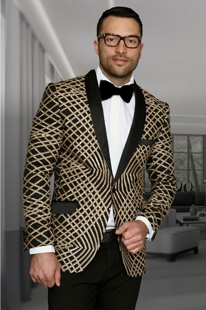 Manzini Mens Gold Exotic Pattern Sequin Dinner Jacket MZE-113 IS - click to enlarge