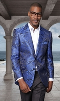 Manzini Paisley Blazer Mens Royal Blue Shiny Jacket MZS-140