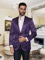 Manzini Paisley Jacket Mens Purple Shiny Blazer MZS-140