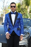 Manzini Sequin Jacket Blazer Mens Royal Blue Notch Lapel MZE-133 Bow