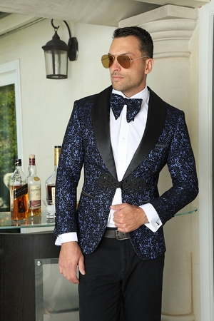 Manzini Slim Fit Entertainer Blazer Mens Royal Paisley MZE-108 Bow - click to enlarge