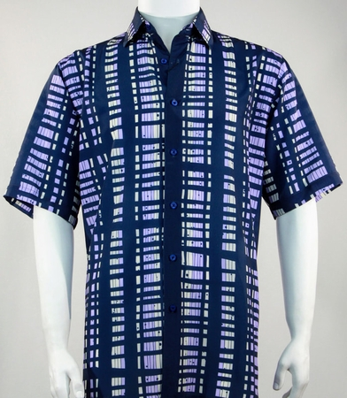 Bassiri Leisure Shirt Mens Blue Short Sleeve Print 61531 - click to enlarge