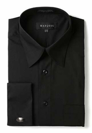 Marquis Mens Black Pointed Collar French Cuff Dress Shirt  009F - click to enlarge