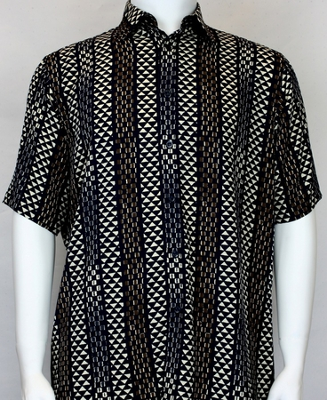 Bassiri Mens Black Ivory Pattern Casual Short Sleeve Shirt 60391 - click to enlarge