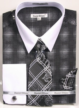 Daniel Ellissa Stylish Shirt Tie Set Mens Black Plaid DS3796P2 - click to enlarge