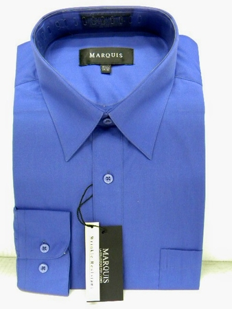 Marquis Mens  French Blue Long Sleeve Dress Shirt 009 - click to enlarge