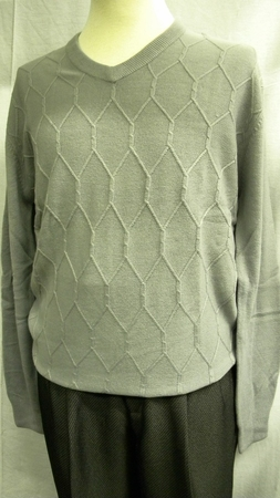 Marquis Mens Grey Chenille Knit V Neck Sweater 11491 - click to enlarge