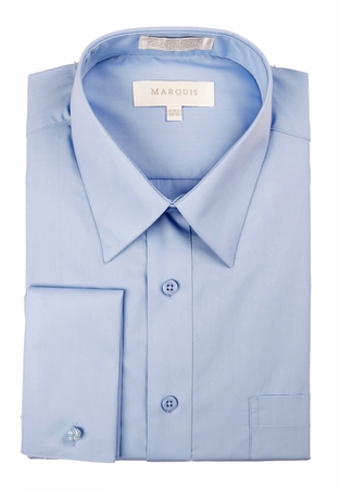 Marquis Mens Light Blue Pointed Collar French Cuff Dress Shirt  009F - click to enlarge