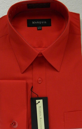 Marquis Mens Red French Cuff Dress Shirts 009F - click to enlarge